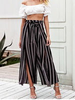 Simple High Waist Loose Striped Wide Leg Pants