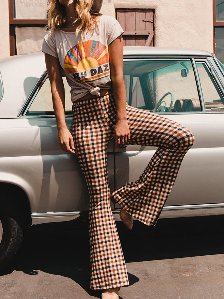 All Season Casual Checkered/plaid High-waisted Bell-bottoms