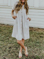 Gray Pockets Shirt Collar A-Line Short Sleeve Midi Dress