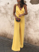 Casual Yellow Draped Spaghetti Jumpsuits