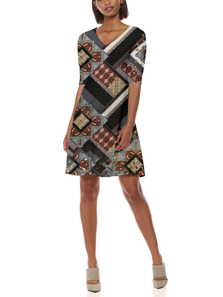 Vitage Tribal V Neck Printed Woman  Dresses