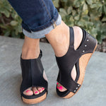 Magic Tape Wedge Sandals Summer Rivet Wedge Heel Sandals