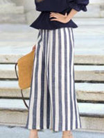 Plus Size Women's Casual Elastic Waist Loose Striped Wide Leg Pants