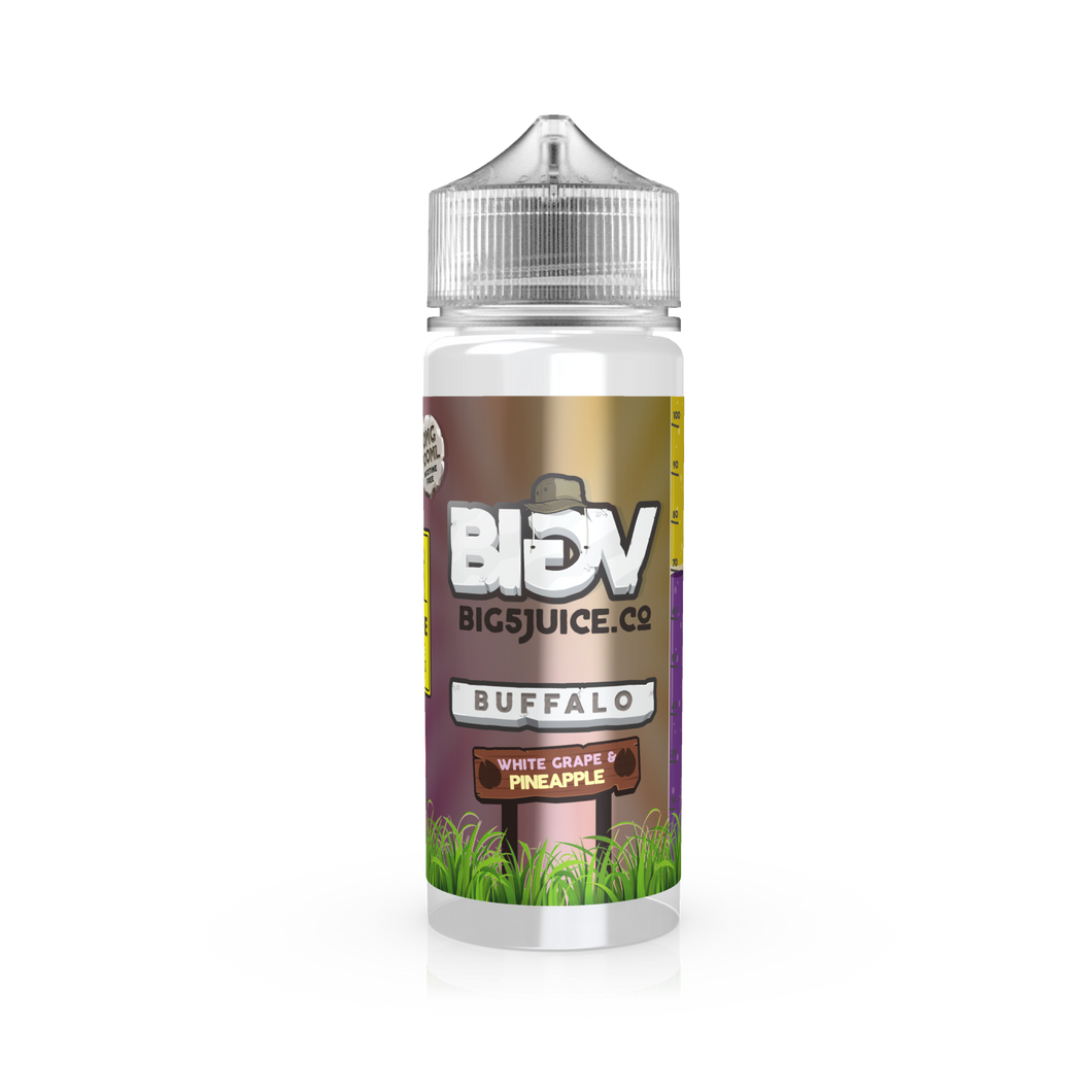 Big V E Liquid UK Buffalo White Grape & Pineapple flavoured Vape Juice. Big 5 Juice Co UK Stockist best prices