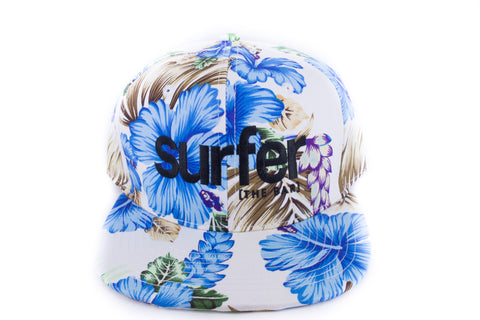 Surfer Floral Snap back hat -Blue