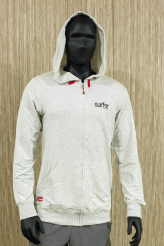 Surfer THE BAR bamboo logo hoodie-White heather - Mens