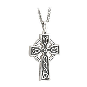 Sterling Silver Double Sided Silver & Stainless Steel Celtic Cross Pendant