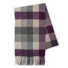 Load image into Gallery viewer, 100% Cashmere Scarf - Purple/Grey 5 Square Check