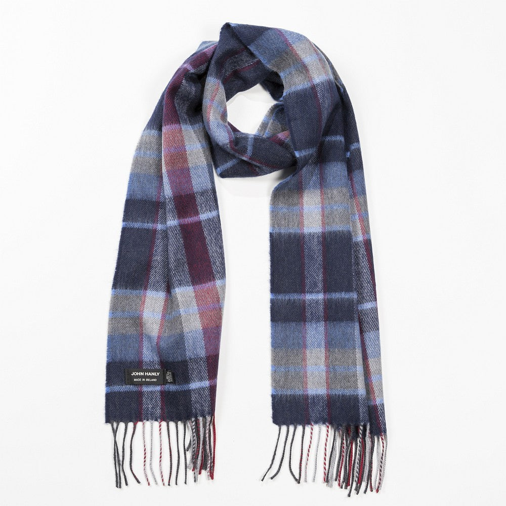 Merino Luxury Wool Scarf Navy Wine and Denim Check- 126