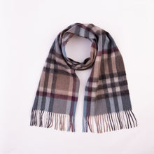 Load image into Gallery viewer, 100% Lambswool Scarf - Tartan 2 Blue/Taupe