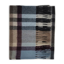 Load image into Gallery viewer, 100% Cashmere Scarf - Tartan 2 Blue/Taupe