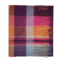 Load image into Gallery viewer, 100% Lambswool Scarf - Orient Ginger New Square Check