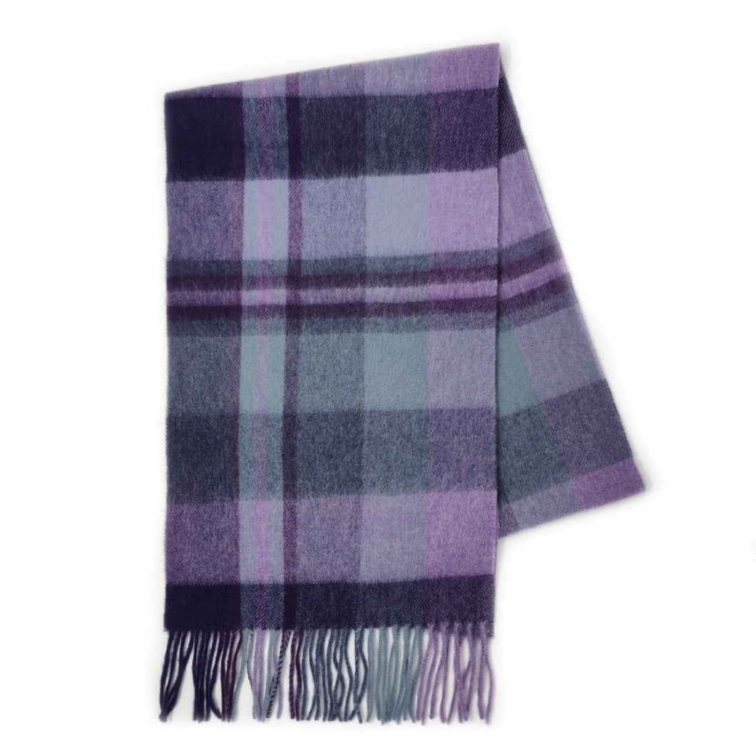 100% Cashmere Scarf - Heather New Square Check