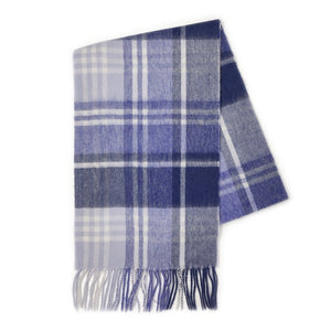 100% Lambswool Scarf - N/Blue JK Check