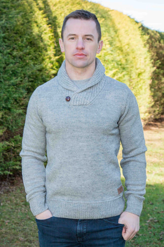 Irish Shawl Collar Westport Sweater - Light Grey