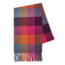 Load image into Gallery viewer, 100% Lambswool Scarf - Orange/Pink Checkers