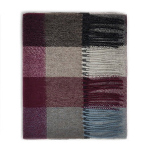 100% Lambswool Scarf - Burgundy Checkers