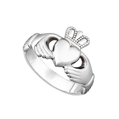 Sterling Silver Heavy Ladies Claddagh Ring