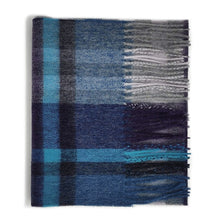 Load image into Gallery viewer, 100% Cashmere Scarf - Tartan 2 Blue