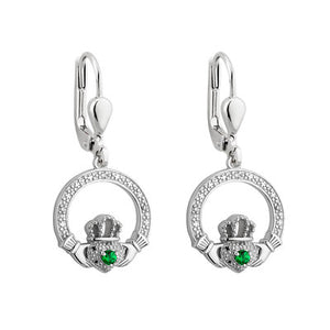 Sterling Silver Cubic Zirconia Claddagh Earrings