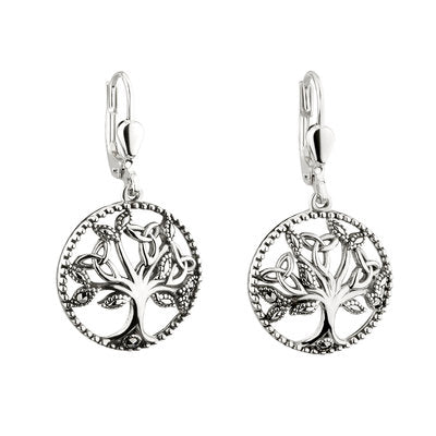Sterling Silver & Marcasite Tree of Life Earrings