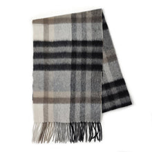 Load image into Gallery viewer, 100% Cashmere Scarf - Tartan 2 Bl/Grey