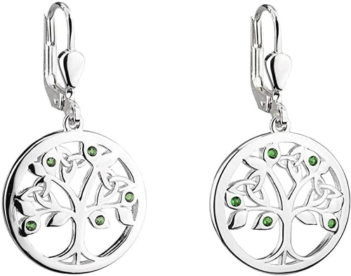 Sterling Silver & Stones Tree of Life Earrings
