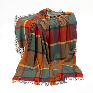 Lambswool Throw -639 Orange, Green, Yellow and Wine Check