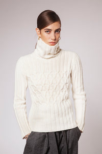 Fisherman out of Ireland ladies cable turtleneck. Natural