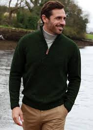 Donegal Wool Irish Zip Neck Sweater