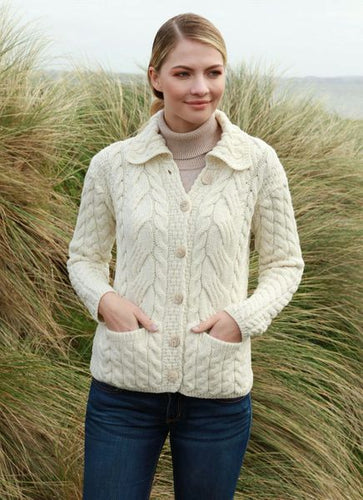 supersoft aran cable cardigan cream
