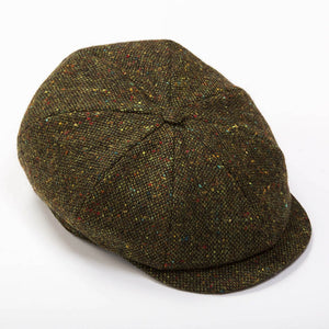 Irish Tweed Cap - Green And Brown Donegal Wool