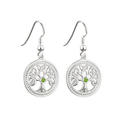 Sterling Silver Tree of Life Earrings w/ Stones