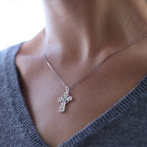 Sterling Silver & Cubic Zirconia Celtic Cross Pendant