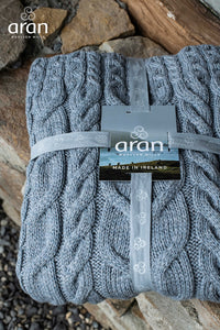supersoft merino throw by aran woollen mills soft gray