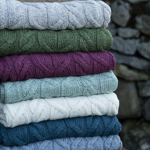 supersoft merino patch throw by aran woolen mills