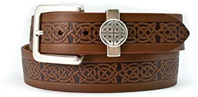 Lee River Genuine Leather Belt with Celtic Design and Celtic Loop