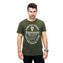 Load image into Gallery viewer, guinness khaki gaelic label tshirt ireland unisex