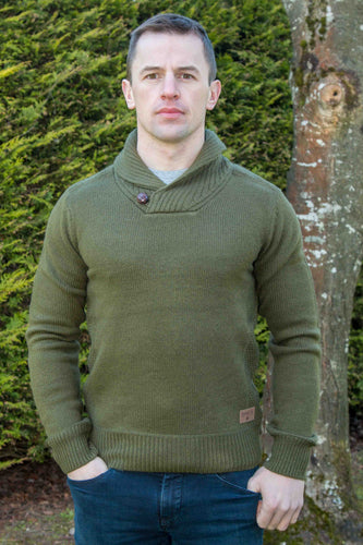 Irish Shawl Collar Westport Sweater - Olive Green