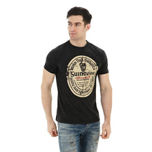 Load image into Gallery viewer, guinness gaelic label distressed  black tee ireland unisex