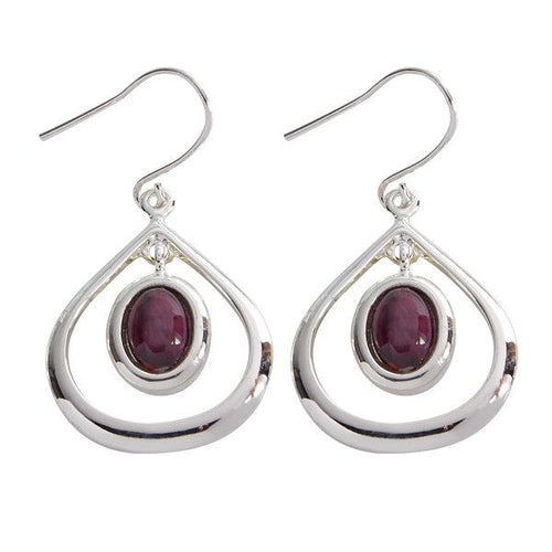 Open Tear Drop Silver Plated Earrings