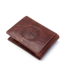 Load image into Gallery viewer, Leather Fergal Celtic knot  bi fold wallet With money clip tan Ireland