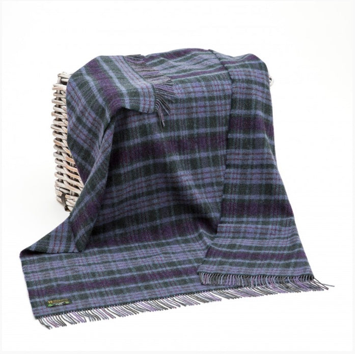 Wool Throw - Dark Purple, Lavender & Green Check