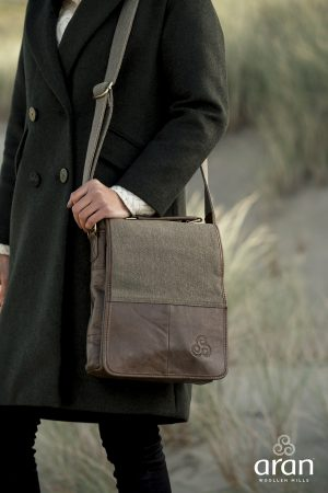 Brown leather and canvas over the shoulder tote.