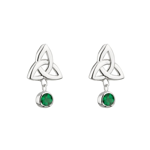 Sterling Silver Trinity Knot & Green Crystal Earrings