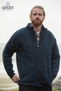 Men's Lined Cable Zip Cardigan