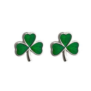 Sterling Silver & Enamel Small Shamrock Earrings