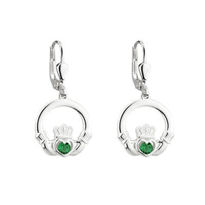 Sterling Silver Crystal Claddagh Earrings