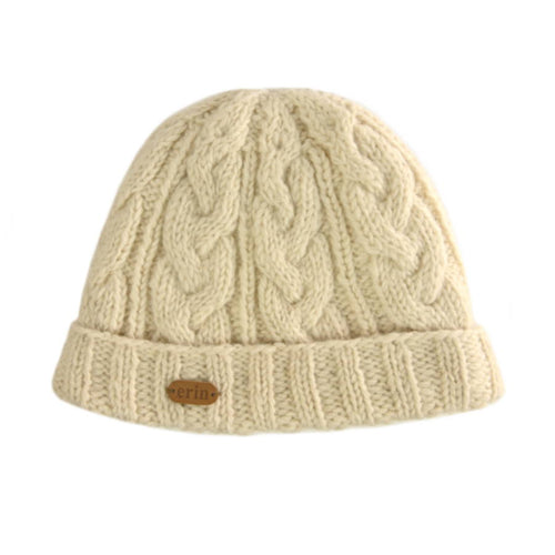 Aran Cable Turn Up Cap - White