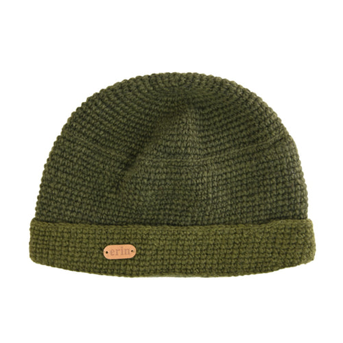 Crochet Turn Up Hat - Olive Green